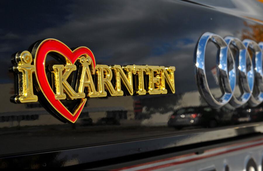 goldene Autoaufkleber Kärnten - Autoaufkleber I Love Kärnten im Kärntenshop