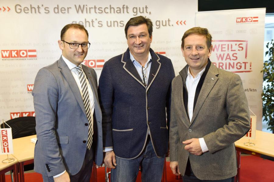 """Wirtschaftskammer Kärnten """"Land und WK bauen Exportförderung aus"""" MMag. Meinrad Höfferer, Präs. Jürgen Mandl MBA, DI Christian Benger ©fritzpress"""
