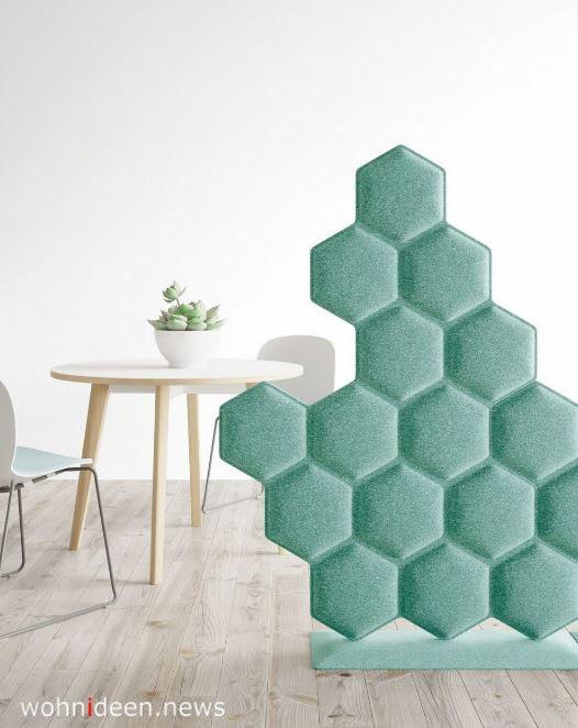 Honigwaben Raumteiler aus Stoff Türkis - Die 124 schönsten Design Sichtschutz Raumteiler Ideen der Welt