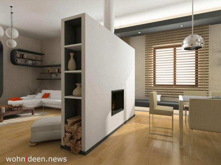 Moderne Ideen für Raumteiler – offener Kamin mit eingebautem Regal - Die 124 schönsten Design Sichtschutz Raumteiler Ideen der Welt