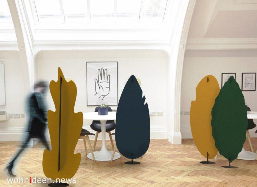 Blattskulpturen als Raumteiler