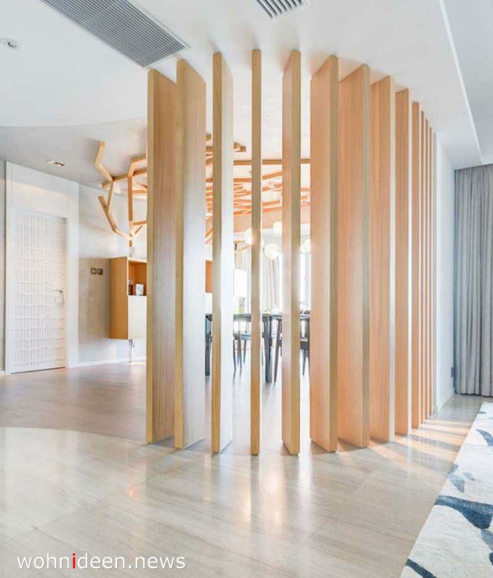 Rustikaler Holz Bambus Raumteiler für helle Räume