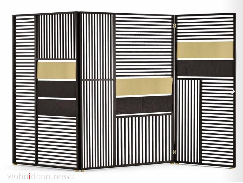 Design Paravent Raumteiler in klassischem Schwarz