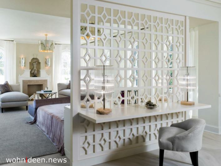 weisser Raumteiler mit Schminktisch Schlafzimmer - Die 124 schönsten Design Sichtschutz Raumteiler Ideen der Welt
