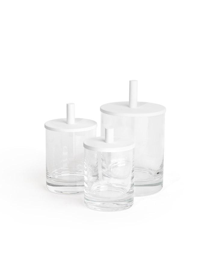 Badezimmer KLOMFAR Round Up Glasdosen klar weiß - KLOMFAR präsentiert Trends und Entwicklungen rund ums Badezimmer