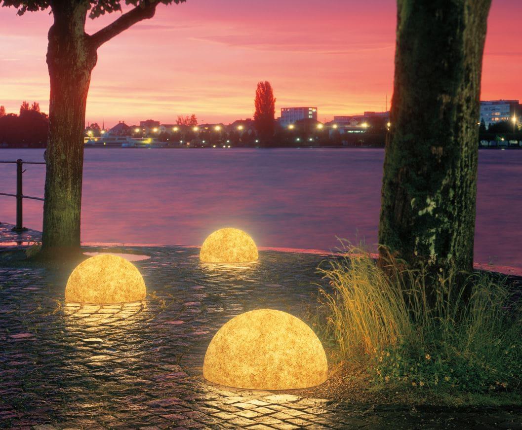 halbkugeln bodenkugeln halbrund steinoptik - Kugelleuchten & Kugellampen für den Garten Gartenkugeln Leuchtkugeln mit LED