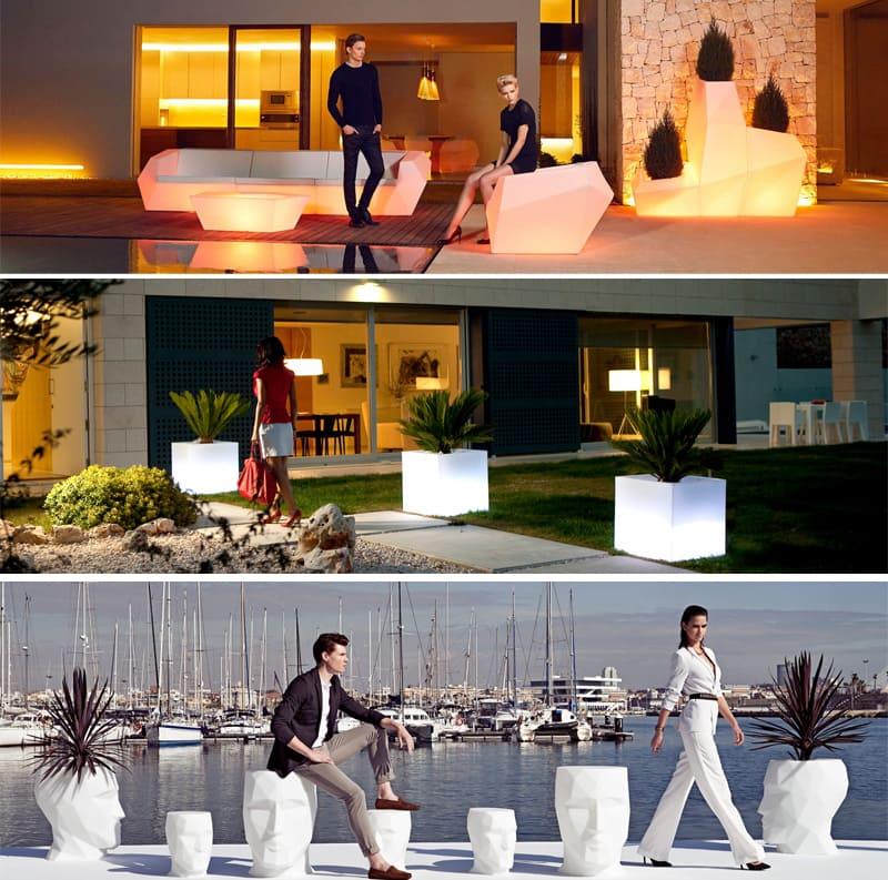 Terrassenmöbel Sichtschutz Beluchtete Möbel Garten