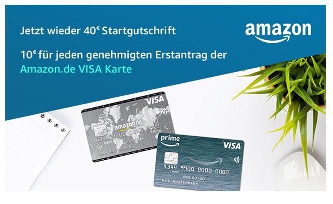 Amazon VISA Karte Amazon VISA - 40 € Startgutschrift für ihre Amazon.de VISA Karte