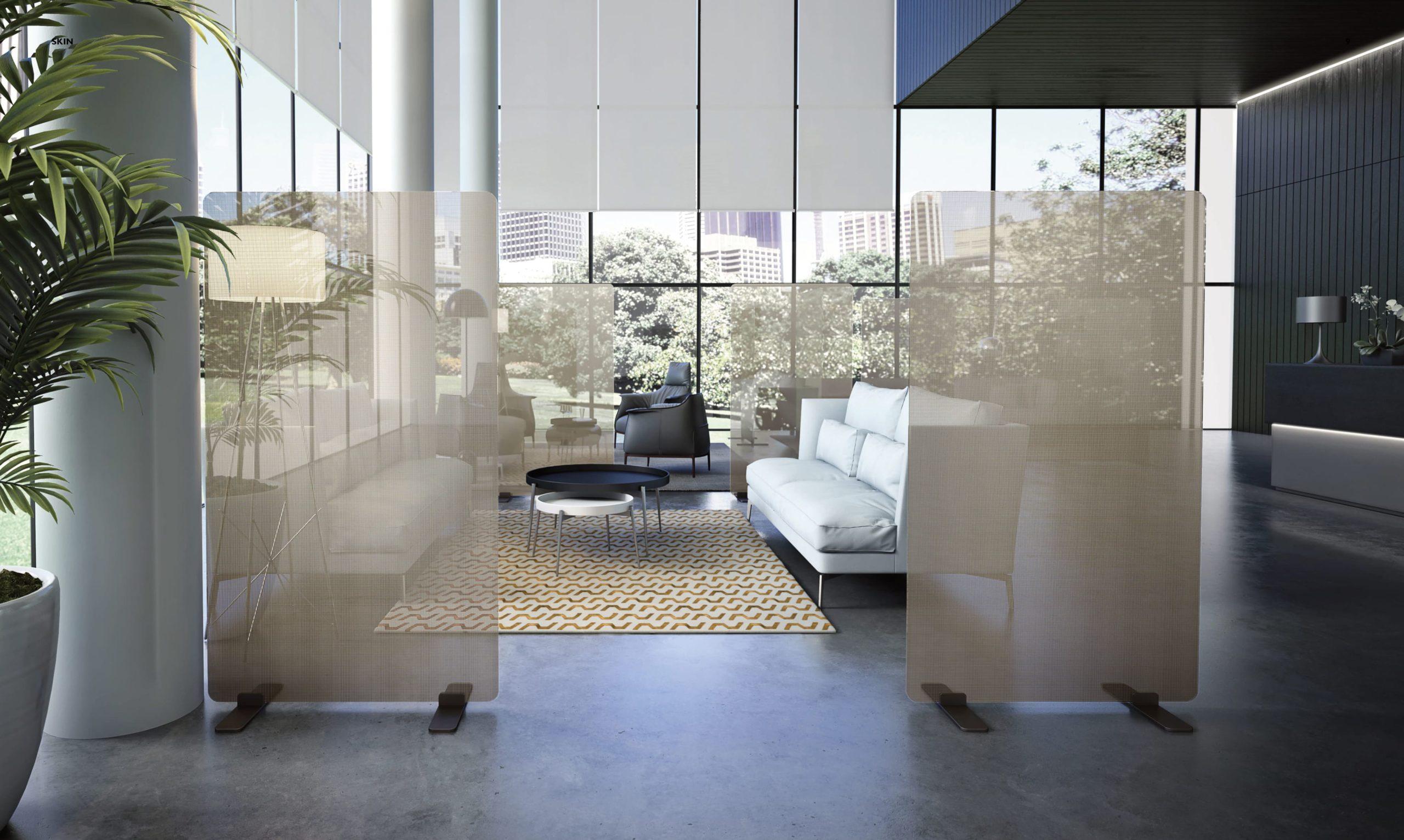 Wohnzimmer Sichtschutz aus Glas modern und teuer