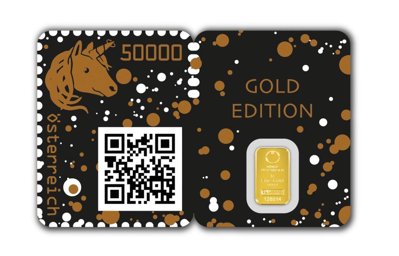 Blockchain Briefmarke Crypto Stamp GOLDENES EINHORN - GEWINNSPIEL: Crypto Stamp 2.0 Goldenes Einhorn golden Unicorn