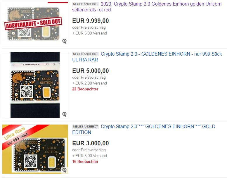 Crypto Stamp 2 0 Goldenes Einhorn - GEWINNSPIEL: Crypto Stamp 2.0 Goldenes Einhorn golden Unicorn