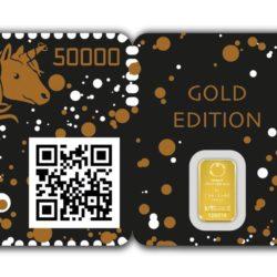 blockchain briefmarke Einhorn Gold