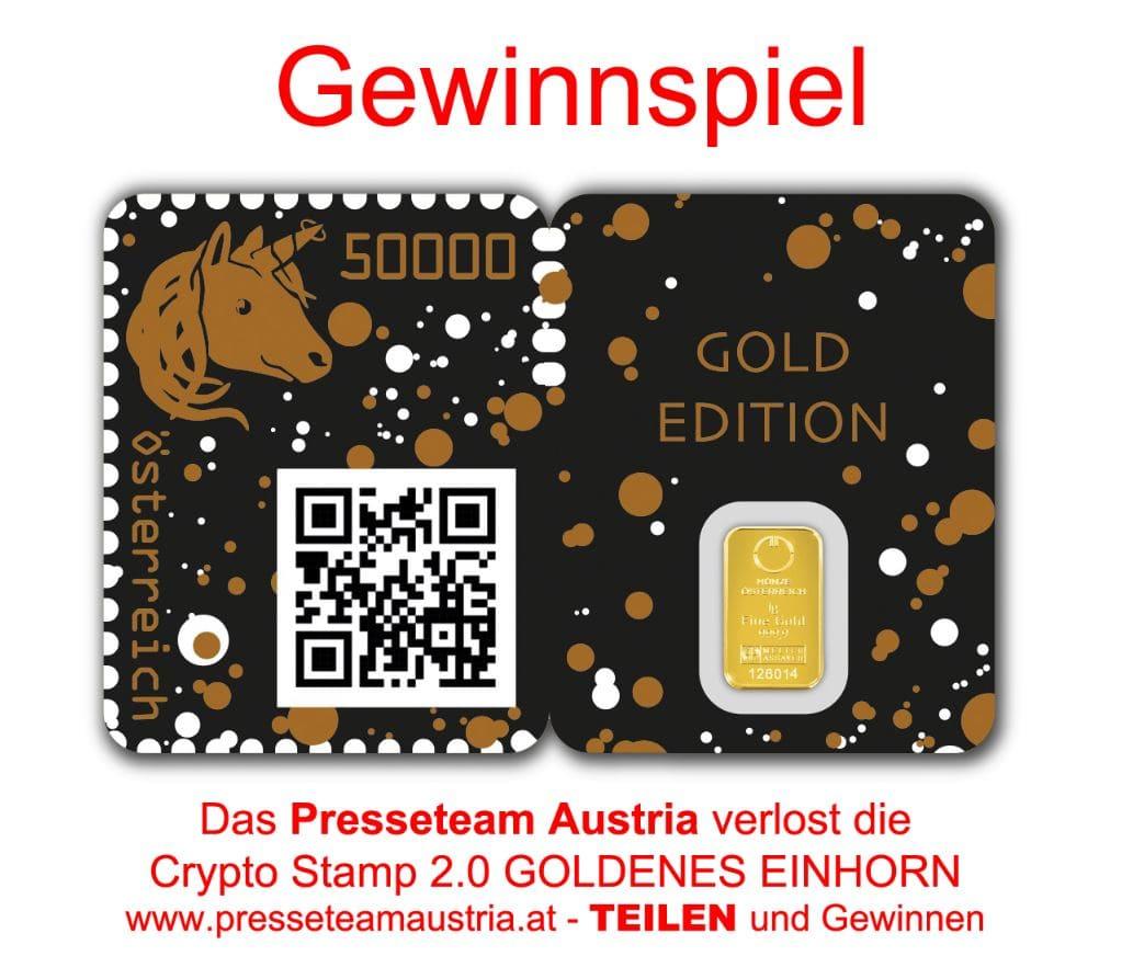 Gewinnspiel Crypto Stamp GOLDENES EINHORN - GEWINNSPIEL: Crypto Stamp 2.0 Goldenes Einhorn golden Unicorn