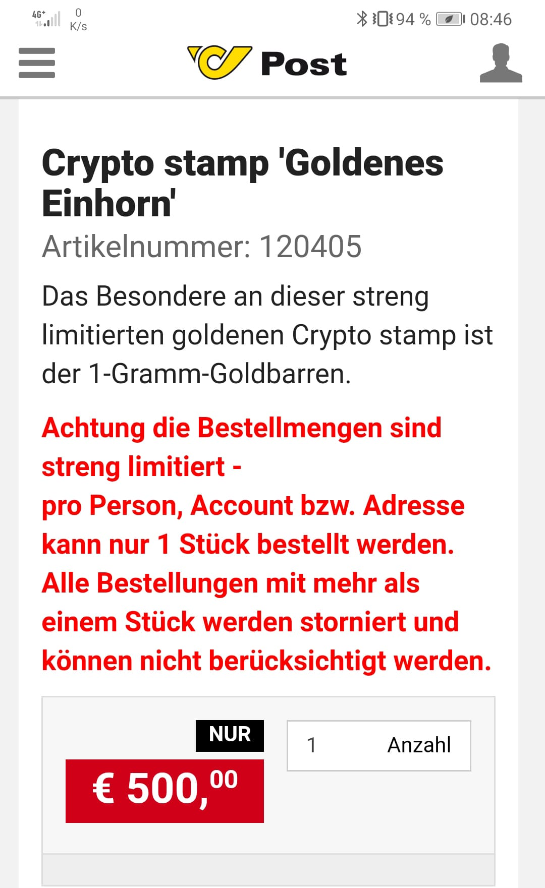 Goldene Einhorn Mock up gold Einhorn Crypto.stamp  - GEWINNSPIEL: Crypto Stamp 2.0 Goldenes Einhorn golden Unicorn
