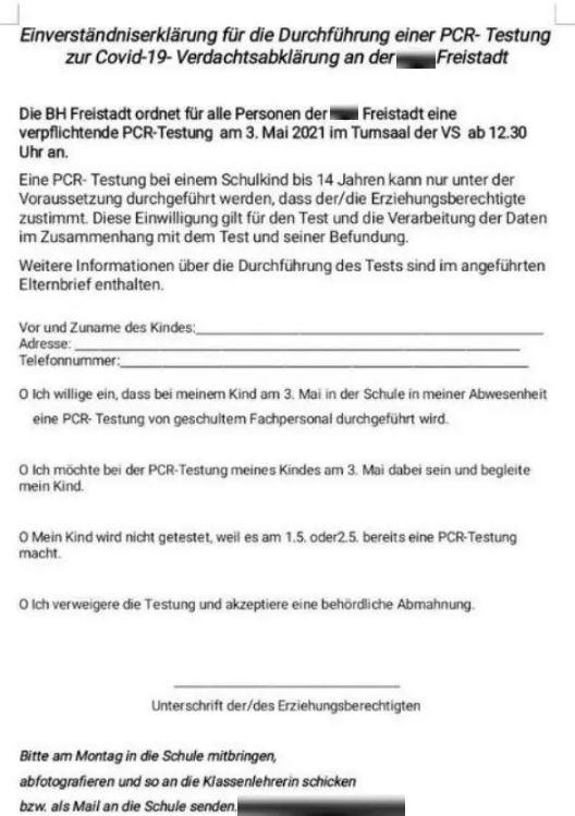 testzwang bei kinder corona - Will Volksschule in Freistadt Kinder widerrechtlich zu PCR-Test zwingen?