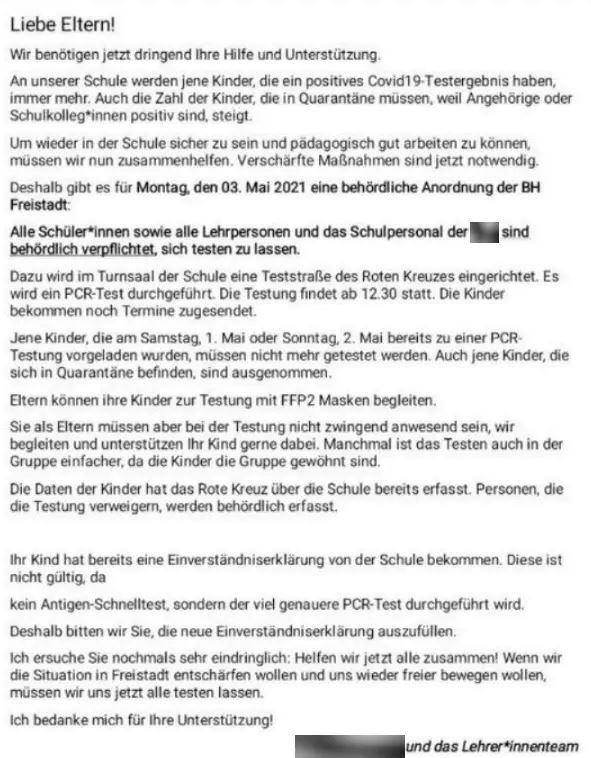 testzwang bei kinder - Will Volksschule in Freistadt Kinder widerrechtlich zu PCR-Test zwingen?